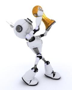 Robot lifting football trophy