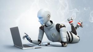 liegender roboter schreibend positiv